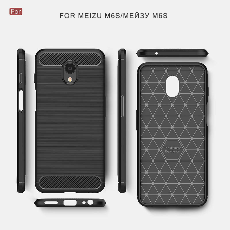 carbon fiber brushed silicone case meizu m6s (8)
