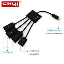 CHYI OTG to 3 USB 2.0 Ports Hub Cable Black Connector Spliter with Micro USB Power Charging For Computer Tablet PC Android 5Gbps(China)