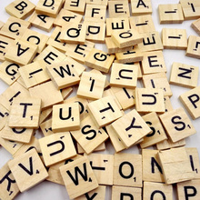 100pcs/lot Hot Kids DIY Wooden Alphabet Crafts Educational Scrabble Letters Craft Jigsaw Puzzles Educational Toys For Children(China)