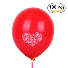 100pcs 12 inch Round Latex Balloons Love Heart Printed Balloon for Party Decoration 2.8g Balloons Toy for Kids Having Fun (Red)(China)
