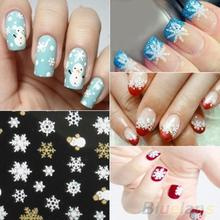 Snowflakes Snowman 3D Nail Art Stickers Decals Girl Fingernail Accessories  1QSP