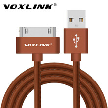 VOXLINK For iphone 4 USB Charger Cable 30 pin Metal plug PU Leather USB Data Sync Charging Cable for iphone 4 4s iPad 2 3 4 iPod