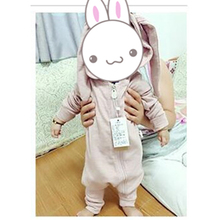Newborn Baby Rompers Infant Jumpsuit Rabbit Ear Hooded  Ropa Costume Bunny Solid Zipper Bebe Clothes Cheap Toddler Outfits