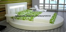 Modern Designer Bed, Top Grain Leather, Large King Size Genuine Leather Bed with 2 small side table, Round Bed C377(China)