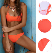 Summer Halter Orange Bikini Set swimwear women Bra Solid Sexy Beach Wear Biquini Bathing Suit Maillot De Bain drop shipping