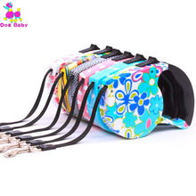 DOGBABY Suitable Pet Dog Leash Print Auto Scaling Dog Leash Nylon Environmental Protection Material Seven Color Cats Pets Lead(China)