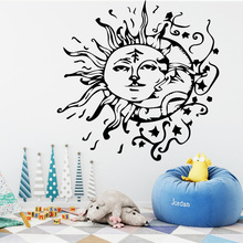Buy Sun Moon Wall Stickers Nature Living Room Decer Vinyl Waterproof Wallpapr Pretty Self Adhesive Wall Art Accessories PVC for $1.21 in AliExpress store