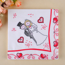 20pcs/lot Bride and Groom pattern paper Napkin wedding napkin table dinner paper Tissues wedding party supplies