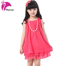 Girls Dresses Summer 2017 Pink Chiffon Dress Fashion Sleeveless Pearles Costumes Ruffless Vestidos For 4-15Y Children's Clothes