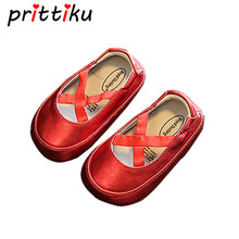 Baby Girl First Walkers Newborn Kids Leather Red Gold White Pink Colors Flats Infant Children Mary Jane Cross Strap Ballet Shoes(China)