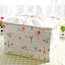 Zakka Floral Cotton&Linen Foldable Storage Baskets Dirty Clothing Organizer Pouch Toys Container Box