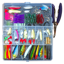 73/101/132pcs Fishing Lures Set Mixed Minnow/Popper Fish Lure Box Spinner Spoon Cebo Grip Hook Isca Artificial Bait Kit Pesca
