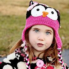Hot Sale Limited 1-2Year Baby Toddler Kids Unisex Owl Pattern Knitted Crochet Beanie Warming Earflap Hat