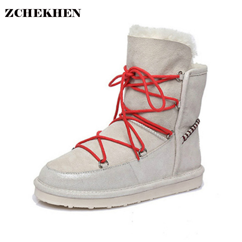 Luxury Winter Snow Boots for Women Sheep Fur plush ankle Boots Cotton Shoes Non-skid Wool Australian Boots UGS<br>