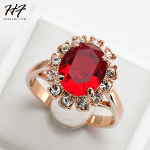 Red Stone Ring Bague Rose Gold Color Crystal Fashion Anniversary Jewelry For Women anel  R190