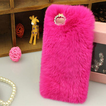 "Ayeena Soft fluffy Hard back Phone Cover cases for iphone 6s 4.7"" 6s plus 5.5"" Cover Soft Hair fur Skin Back Coverring HOT pink()"