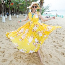 2017 Explosive Bohemian Chiffon Dress Relaxing Double V Nose Quaid Seaside Sleeveless Dress Big Flower Holiday Beach fashion