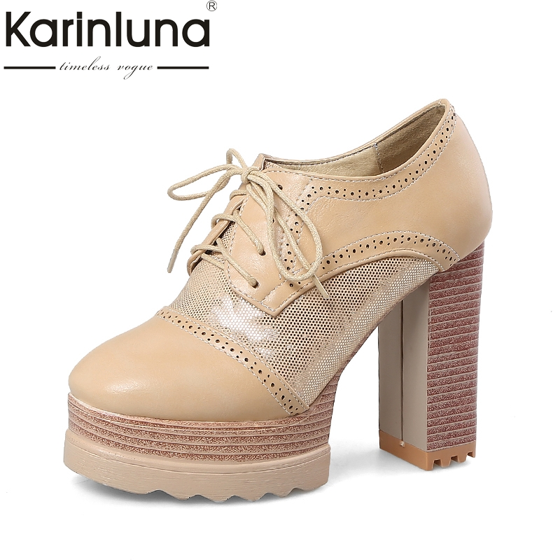 Karinluna Dropshipping Large Size 33-43 Square High Heels Lace Upper Women Shoes Woman Platform Party Pumps Shoes Footwear<br>