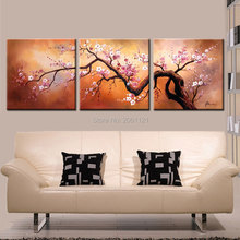 hand painted 3 Panels Plum Tree Blossom Modern Giclee Canvas Flowers Abstract Floral Paintings on Canvas Wall art chinese Decor