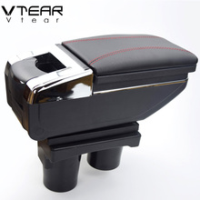 Vtear For Citroen c-elysee/ Peugeot 301 armrest central Store content Storage box with cup holder ashtray accessories 2012-2014(China)