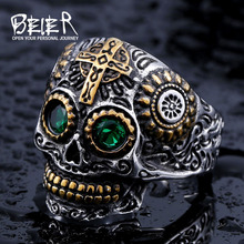 Beier 316L Stainless Steel ring skull biker men Ring hot sale Man's fashion jewelry LLBR8-327R