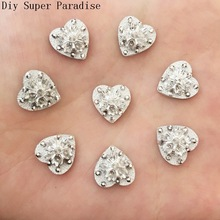 Artesanato 40PCS 12mm Silver Resin Heart Flatback Flower Rhinestone Embellishment Diy Crafts Scrapbook F125