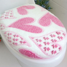 2 piece/set Super soft Coral fleece Close Stool Mat /toilet Potty sets/Toilet seat cover Heart-shaped and pebble Warm toilet mat