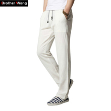 New Men 's Casual Pants Fashion Plain Linen Straight Loose Trousers Brand Men's Clothing Comfort Linen Pants Large Size M-4XL(China)