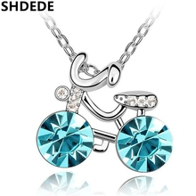 Austrian Crystal Bike Pendant Necklace Women Fashion Jewelry High Quality Birthday Gift for Girlfriend *5284(China)