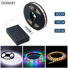 50CM 1M 2M Battery Powered LED Strip 3528 SMD Waterproof Flexible LED Strip String Light Warm White Cool White RGB(China)