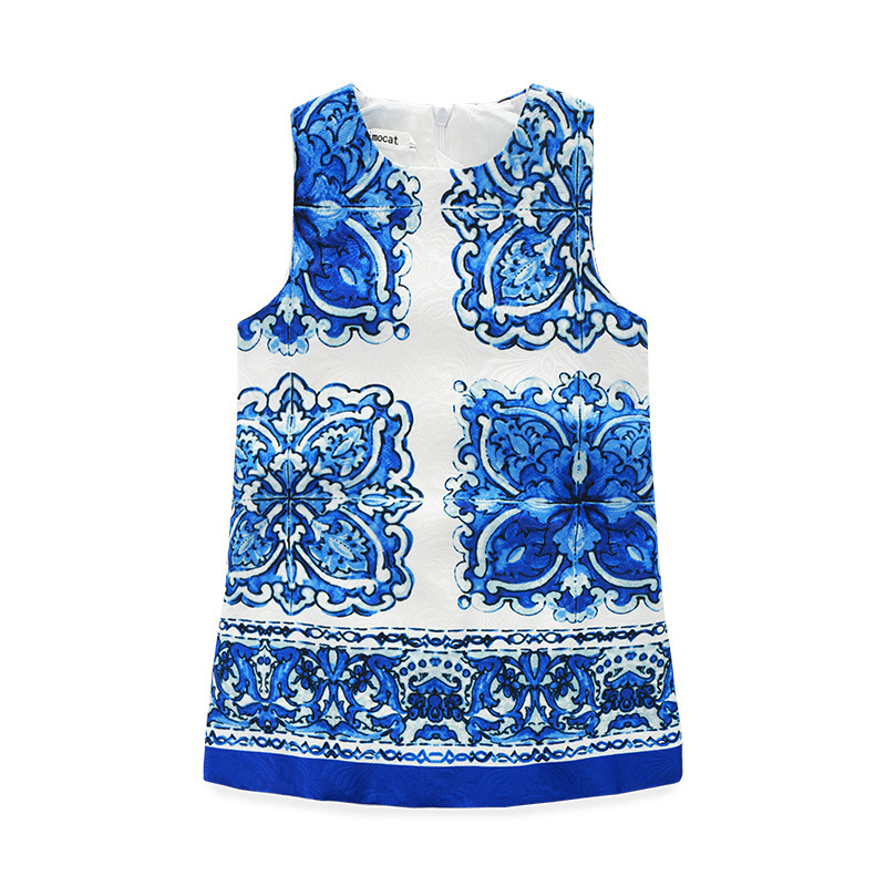 2017 kimocat fashion designer Chinese girl blue and white porcelain blue and white porcelain jacquard A line dress<br><br>Aliexpress