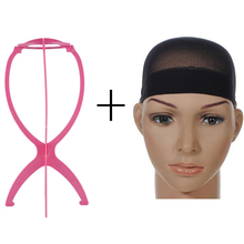 1PC Plastic Wig Stand Holder Mannequin Head Wig Stands Hair Accessories Portable Folding Support Display For Beauty Salon Use(China)