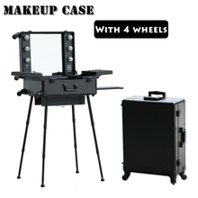 DHL Free shipping to Kazakhstan, Aluminum lighted makeup station with stand, makeup trolley case with lights and 4 legs