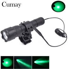 WF 502B 5W Tactical Flashlight Q5 Green LED Torch Flash Light Lantern with Mount Remote Control Pressure Switch 18650 Charger