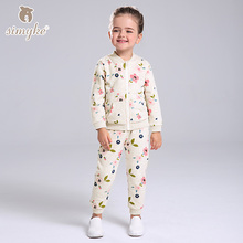 Simyke Children's Casual Sets 2017New 2pcs Set for Girl Jacket+Sport Trousers Toddler Girl Set Kids Clothes Kids Clothing W0085(China)