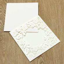 Marvelous Church Personalized Customized Printing Laser Cut Wedding Party Invitations Card Embossed Flowers with Envelope