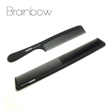 Brainbow 2pc High Quality Black Anti-static Hair Combs Pro Salon Hair Styling Hairdressing Carbon Hair Care Barbers Handle Brush