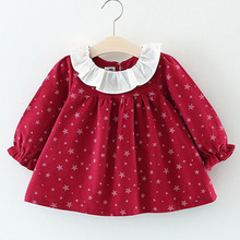 Qianquhui Autumn 3 Colors Small Star Long Sleeve Dress Puff Sleeve Children's Dress Baby Girl Dress Cotton Blend O-Neck For 0-3T(China)
