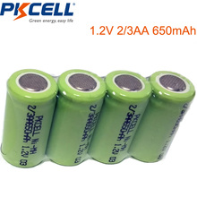4x 2/3AA Ni-MH Battery 1.2V 650mAh Rechargeable Battery For Soldering Flat Top(China)