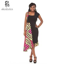Shenbolen new design for summer dress african batik prints irregular dresses cuffs are specially designed differently(China)