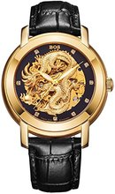 Luxury Timepiece BOS Men's 'Dragon Collection' Luxury Carved Dial Automatic Mechanical Calfskin Waterproof Gold Watch 9007