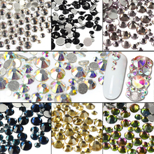SWEET TREND New Colorful Shiny 3D Nail Art Decoration Flat Back Rhinestone Mixed SS3~SS16 Glitter Gem Glass Crystal LA309(China)