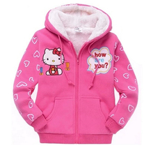 2016 Baby Girls Hello Kitty Coat Hooded Fur Sweater Winter Warm Jacket Children Outerwear Kids Clothes Retail H124