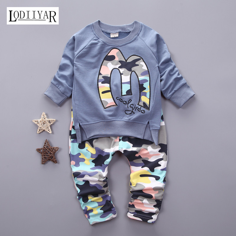 Spring Autumn 2017 Childrens Clothing Set, Fashion Korean Camouflage 1pcs Pullover + 1pcs Pants Casual Suit, Boys Girls Clothes<br><br>Aliexpress