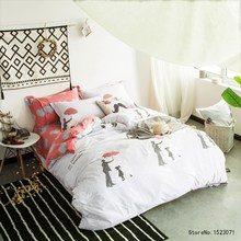 Blak dot family love bedding set  duvet cover red heart-shaped bed sheet linen pillow cover pillowcases home textile