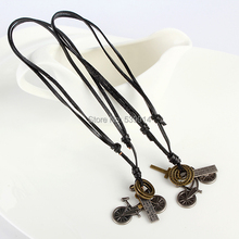 Fashion jewelry necklace genuine cow leather men necklace,punk retro bicycle pendants necklace 2pcs/lot
