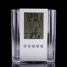 Creative Office Organizer Transparent Multifunctional Pen holder Calendar Timer Thermometer Clock Brand Storage Case BS