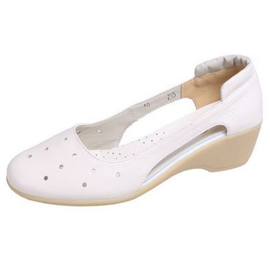 Full Grain Genuine leather summer cut-outs sandals shoes white color for women DS114 round toe cow mucle sole comfortable sandal<br>