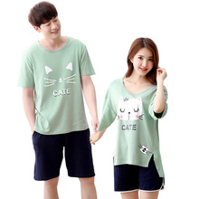 Cute Couple Gift Pajama Sets Cotton Pajamas Pijama Women Cartoon  Hello Kitty Short Sleeve Shorts Casual Sleepwear Pyjama Summer