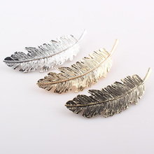 2017 New Style Hot Selling Trendy Leaf Barrettes Hairpin Feather Hair Clip Women Hair Jewelry 3 colors for choice H281
